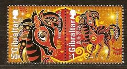 Gibraltar 2014 Yvertn° 1582-1583 *** MNH Cote 5,50 Euro Year Of The Horse Année Du Cheval - Gibraltar