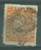 British Guiana: 1863/76   Ship   SG107   2c  Orange-red  [Perf: 15]   Used - British Guiana (...-1966)