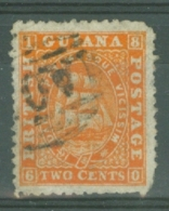 British Guiana: 1863/76   Ship   SG68   2c  Orange  [Perf: 12½-13]   Used - Brits-Guiana (...-1966)
