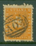British Guiana: 1863/76   Ship   SG87   2c  Orange  [Perf: 10]   Used - Brits-Guiana (...-1966)
