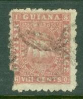 British Guiana: 1863/76   Ship   SG96   8c  Brownish Pink  [Perf: 10]   Used - Brits-Guiana (...-1966)