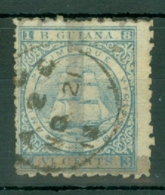British Guiana: 1878   Provisional - Ship   SG141   (1c) On 6c  Milky Blue  Used - Guyana Britannica (...-1966)