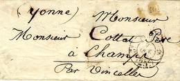 1853- Enveloppe De Paris Cad Port Du   (25c)  3è  18  Pour Champs ( Yonne) Cachet à Date De Port Du Non REFERENCE - 1849-1876: Klassik