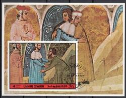 Umm Al Qiwain 1972 Dante Alighieri Virgilio Divina Commedia Purgatorio Miniatura Illustrazione Fg. 4 Imperf. - Writers