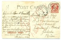 Belgique - COB 74 Sur Carte Vue De L'état De New York, Partie De Charleroi Vers Gorlovka (Горловка) En Russie - Déc 1912 - 1847-99 Emissions Générales