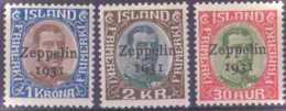 """Islande Poste Aérienne  N° 9 à 11 3 Valeurs Surchargées """"Zeppelin 1931"""" Qualité: ** Cote: 230 € - Poste Aérienne"""