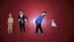 Lot De 4 Figurines  Tintin - Hergé Pour LU - Tintin , Haddock  , Dupont Et Milou - Tintin