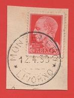 1929-42 (247) Serie Imperiale (filigrana Corona Con Fasci) Cent 20 - Su Frammento - 1900-44 Victor Emmanuel III