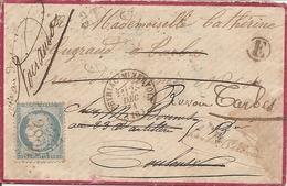 """AUDE (10) ENV De PEYRIAC-MINERVOIS GC 2836 Sur CERES Pour TOULOUSE Puis TARBES + """"E""""  +  VOIR AU DOS - 1849-1876: Klassik"""