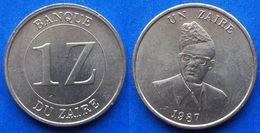 ZAIRE - 1 Zaire 1987 KM# 13 Republic (1971-1997) - Edelweiss Coins - Zaire (1971-97)