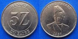 ZAIRE - 5 Zaires 1987 KM# 14 Republic (1971-1997) - Edelweiss Coins - Zaïre (1971-97)