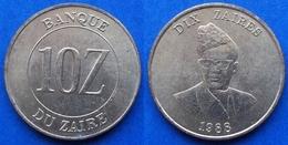 ZAIRE - 10 Zaires 1988 KM# 19 Republic (1971-1997) - Edelweiss Coins - Zaire (1971-97)