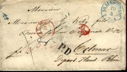 LETTRE EN PROVENANCE DE BRAUNSCHWEIG POUR COLMAR ELSAß - 1854 - - Deutschland