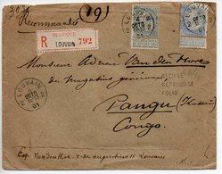 Belgique : Fine Barbe 25c + 50c Sur Lettre Recommandée De 1901 Pour Pangu (Congo Belge, Zaïre) - 1893-1900 Thin Beard