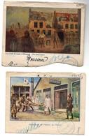 Partie De Lettre Enveloppe Illustration Guerre 14 Ambulance De L'Océan La Panne La Corvée De Soupe Nieuport (2 Pièces) - Belgique