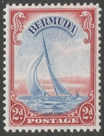 Bermuda. 1938-52 KGVI. 2d MH. Ultramarine & Scarlet. SG 112a - Bermuda