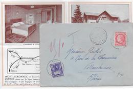 1946 - TAXE GERBES - ENVELOPPE De MONT-SAXONNEX (HAUTE-SAVOIE) => VILLEURBANNE - MAZELIN - 1921-1960: Modern Period