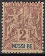 N° 28 - Neuf Sans Gomme - - Nossi-Bé (1889-1901)