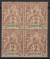 N° 28 - X X - En Bloc De 4 - Nossi-Bé (1889-1901)