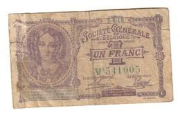 Belgium 1 Franc Societe Generale Belgique 07/06/1918 - 1-2 Francs