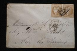 Lettre Paire 10c Bordeaux Vers Aix Les Bains Savoie Lyon 5/03/1871 - 1870 Bordeaux Printing