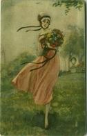 BOMPARD SIGNED POSTCARD 1910s - WOMAN & FLOWERS - N.945 (BG82) - Bompard, S.