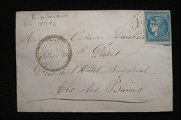Lettre 20c Bordeaux Chindrieux GC 1016 Vers Aix Les Bains (en Face Hotel Impérial) Savoie 23/02/1871 - 1870 Emission De Bordeaux