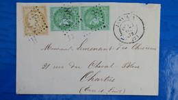 Lettre De Janville Eure Et Loire 1872 Affranchissement Bicolore Paire Ceres N° 53 Et N°59 Pour Chartres - 1849-1876: Klassik