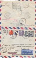 LETTRE. 10 9 54. ANNECY PAR AVION POUR CORFOU. 7 CACHETS ATHINAI ATAHISSOS EKPIMEPON AUHNAI COR 69. CURIOSITÉ - 1921-1960: Moderne