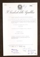 Decreto Autografo Del Presidente Della Repubblica Italiana G. Saragat - 1967 - Autographs