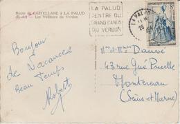 France Oblitération Daguin Basses Alpes La Palud 1954 Sur CPM - Marcophilie (Lettres)
