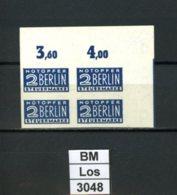 Notopfer Berlin, 1W ,  Xx, 4-er Eck - Oberrand Rechts, Marken Einwandfrei - Zone Anglo-Américaine