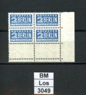 Notopfer Berlin, 8 Z ,  Xx, 4-er Block Unterrand Rechts Und Leerfelder Unten, Marken Einwandfrei - Zone Anglo-Américaine