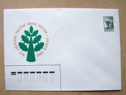 Lithuanian Postal Stationary 1990 Angel Song Feast Oak Tree - Lituanie
