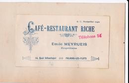 Vers 1900 Café-restaurant Riche à Emile Meyrueis 14 Quai Sébastopol à Palavas Les Flots - Palavas Les Flots