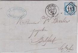 Superbe Lettre 25 C Bleue Ceres Tres Belle Grille 113 Annonay Ardèche 1874 Johannot Tampon - 1849-1876: Klassik