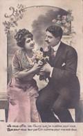 3 Cpa Amoureux Romantique Homme Et Femme Bouquet De Fleurs - Couples