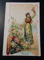 CHROMO. Lith. Romanet. FLEURS Symbole Des Pays. Femme En Habit Folklorique.  ROSE.    BULGARIE - Old Paper