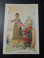 CHROMO. Lith. Romanet. FLEURS Symbole Des Pays. Femme En Habit Folklorique.  GRENADIER.  ESPAGNE - Old Paper