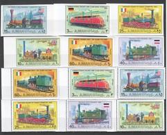 E099 !!! IMPERF,PERF AJMAN TRANSPORTATION INTERNATIONAL TRAINS !!! 2SET MNH - Trains