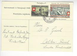 WINTHERTHUR ENTIER POSTAL + CINDERELLA STAMP CENSURE CENSOR WW2 SUISSE INTERNES CAMP INTERNEMENT /FREE SHIP. R - Storia Postale