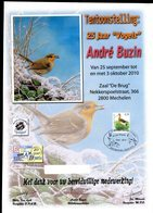 Belgie 3502 Birds Buzin Herdenkingskaart 25 Jaar Buzin SPAB 20 Jaar (folder Op Dik Papier, Reprint, Geen Zegel Maar Druk - 1985-.. Oiseaux (Buzin)