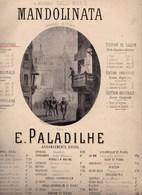 Mandolinata   Mandoline Souvenir De Rome Musique E.Paladilhe édition Originale Paroles Françaises  1850 état Moyen - Partitions Musicales Anciennes