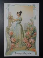 CHROMO. Lith. Romanet. FLEURS Symbole Des  Pays .Femme En  Habit  Folklorique.  ROSES De FRANCE.  FRANCE - Old Paper