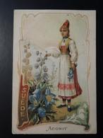 CHROMO. Lith. Romanet. FLEURS Symbole Des  Pays .Femme En  Habit  Folklorique.  ACONIT.  SUEDE - Old Paper
