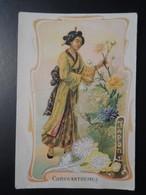 CHROMO. Lith. Romanet. FLEURS Symbole Des  Pays .Femme En  Habit  Folklorique. CHRYSANTHEMES.  JAPON - Old Paper