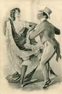 RISQUE LADY DANCES WITH BLACK MAN FINE OLD Postcard - 1900-1949