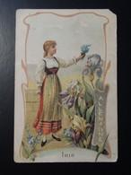 CHROMO. Lith. Romanet.Bonpoint. Récompense. FLEURS Symbole Des  Pays .Femme En  Habit  Folklorique. IRIS. ALLEMAGNE. - Old Paper