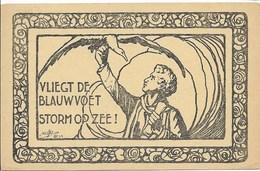 Briefkaart Vliegt De Blauwvoet...verso: Postzegel Omgekeerd Kleven; Niet Gebruikt - Vieux Papiers