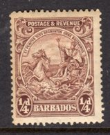 BARBADOS - 1925 FARTHING BROWN DEFINITIVE STAMP PERF 14 FINE MOUNTED MINT MM * REF B SG 229 - Barbados (...-1966)